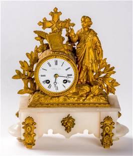 A MANTEL CLOCK brass and marmorimitation made