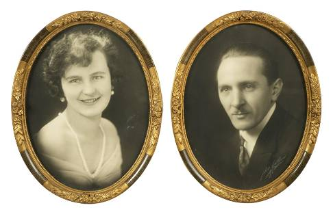 Two photographs of a couple from the early 20th