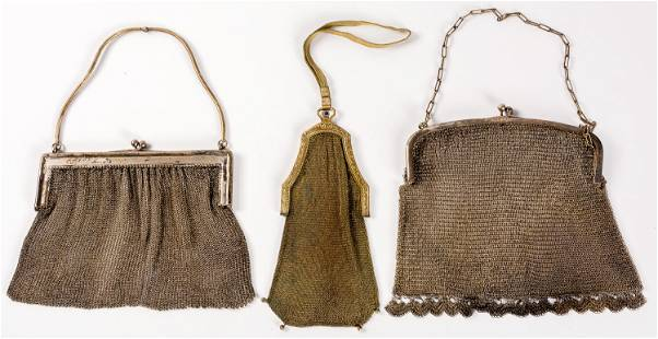THREE LITTLE SILVER BAGS between 12 and 17 cm