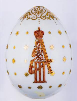 A LARGE ALEXANDER III PORCELAIN EASTER EGG