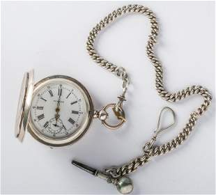 A SILVER POCKET WATCH WITH CHAIN AND KEY