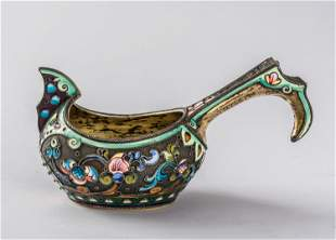 AN ELABORATALEY CRAFTED RUSSIAN KOVSH WITH
