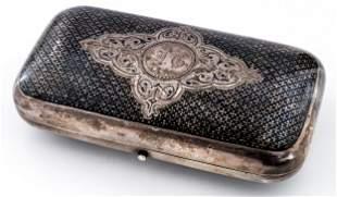 A RUSSIAN SILVER CIGAR CASE WITH NIELLO DECOR