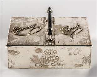 A LARGE CIGARETTE AND CIGAR BOX WITH MONOGRAM AND DATE