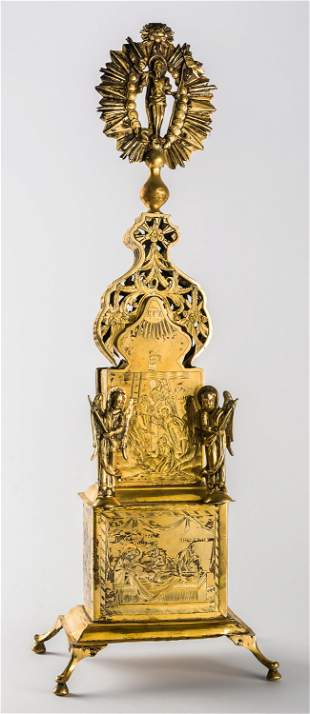 A RUSSIAN GILDED SILVER ARTOPHORION WITH ENGRAVED