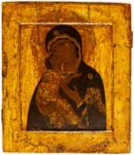 FINE PAINTED RUSSIAN ICON SHOWING THE MOTHER OF GOD