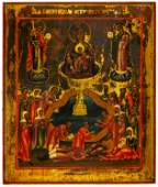 FINE PAINTED ICON SHOWING THE MOTHER OF GOD 'THE LIVE