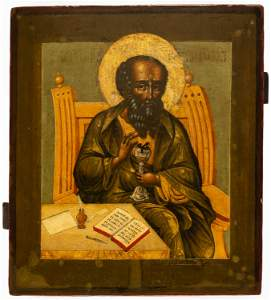 IMPORTANT RUSSIAN ICON SHOWING ST. JOHN THE THEOLOGIAN,