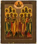 FINE PAINTED ICON SHOWING THE SYNAXIS OF THE TWELVE
