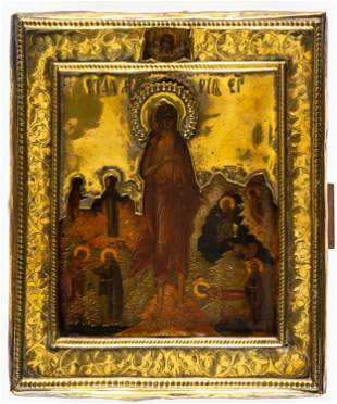FINE PAINTED MINIATURE ICON SHOWING ST. MARY OF EGYPT