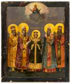 VERY FINE PAINTED ICON SHOWING ST. TSAREVICH DMITRY AND