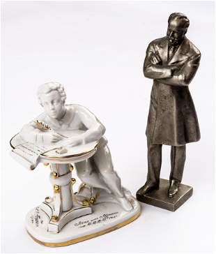 2 SOVIET FIGURES OF THE YOUNG PUSHKIN AND TSCHAIKOVSKY