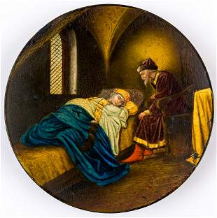 A RUSSIAN LACQUER PLATE SHOWING TSAR IVAN THE TERRIBLE