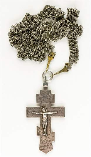 RUSSIAN SILVER PRIEST CROSS WITH NECKLACE