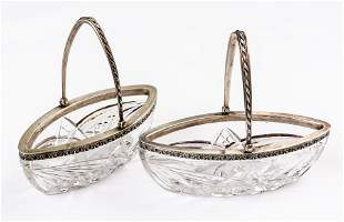 2 CRYSTAL BOWLS IN SILVER SETTING