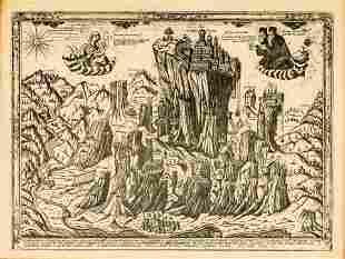 A GREEK WOODCUT (?) SHOWING THE METEORA-MONASTERIES