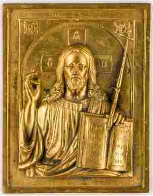 A METAL-ICON SHOWING CHRIST PANTOKRATOR