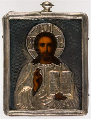 LITTLE RUSSIAN ICON WITH SILVEROKLAD SHOWING CHRIST