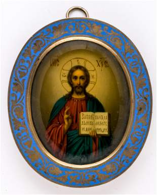 RUSSIAN ON METAL PAINTED ICON IN ENAMELLED FRAME