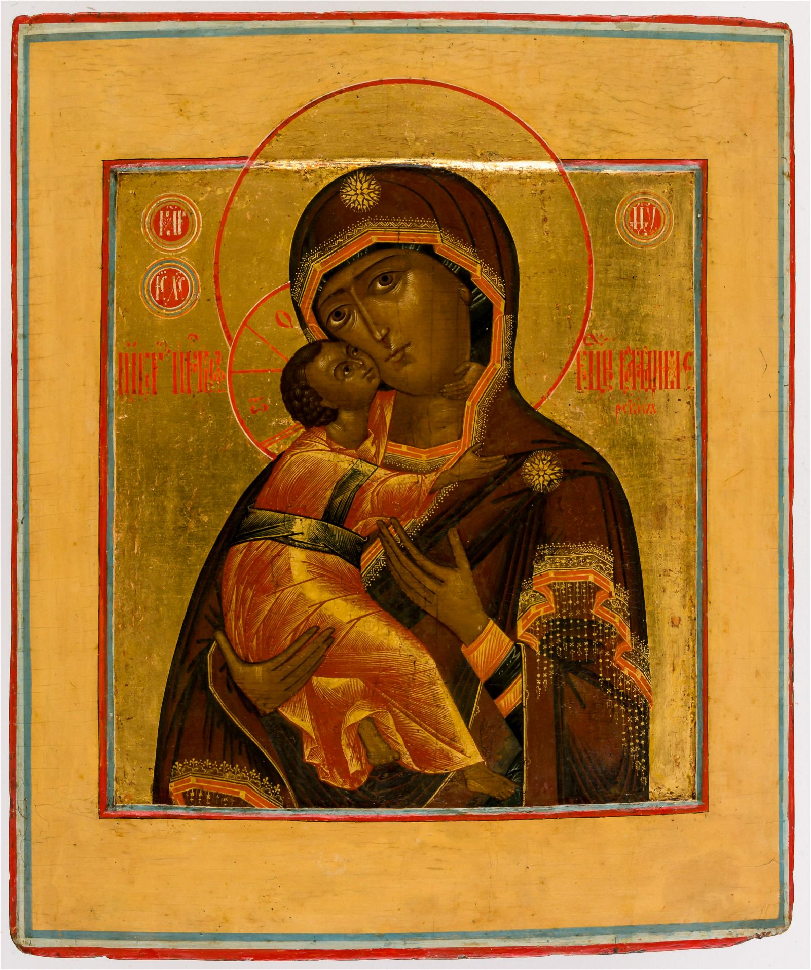 VERY FINE PAINTED ICON ON ORIGINAL GOLDGROUND SHOWING