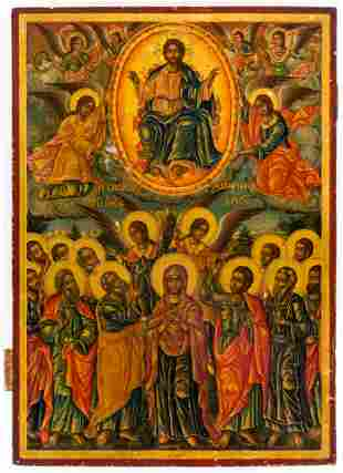 LARGE GREEK ICON SHOWING THE ASCENSION OF CHRIST