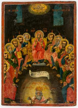 GREEK ICON SHOWING THE DESCENT OF THE HOLY SPIRIT