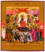 VERY FINE PAINTED ICON SHOWING THE DORMITION OF THE
