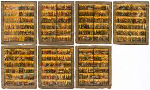 SEVEN CANVAS PAINTINGS SHOWING SAINTS AND FEASTS OF