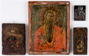 4 GREEK ICONS SHOWING ST. STYLIANOS, ST. CHARALAMPIOS,