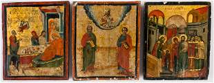 3 GREEK ICONS SHOWING THE NATIVITY OF MARY, 2 SAINTS