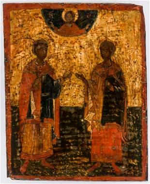 GREEK ICON SHOWING TWO SAINTS