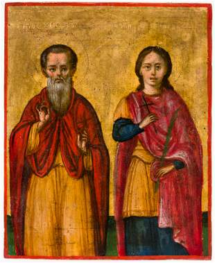 LITTLE GREEK ICON SHOWING ST. CHRISTODOULOS AND ST.