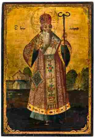 A BALKAN ICON SHOWING ST. BISHOP AMBROSIUS