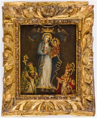 A SOUTH-AMERICAN RELIGIOUS PAINTING SHOWING THE VIRGIN