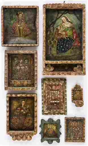 8 RELIGIOUS SOUTH-AMERICAN PAINTINGS SHOWING VARIOUS