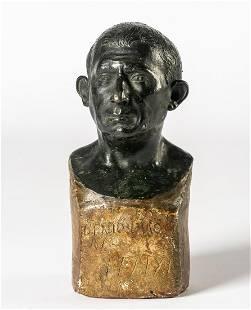 A RARE POMPEII BRONZE BUST OF LUCIUS CAECILIUS FELIX