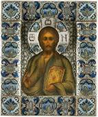 AN AMAZING RUSSIAN ICON WITH SILVEROKLAD AND