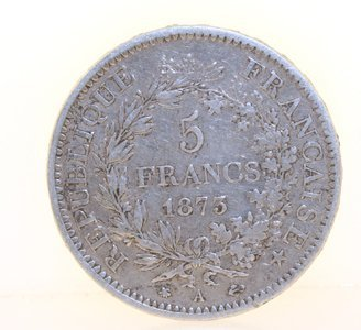 3013: 1873 French 5 Francs Coin