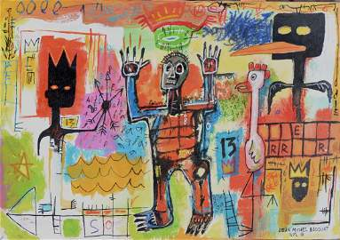 Painting: Attributed to JEAN-MICHEL BASQUIAT (American,
