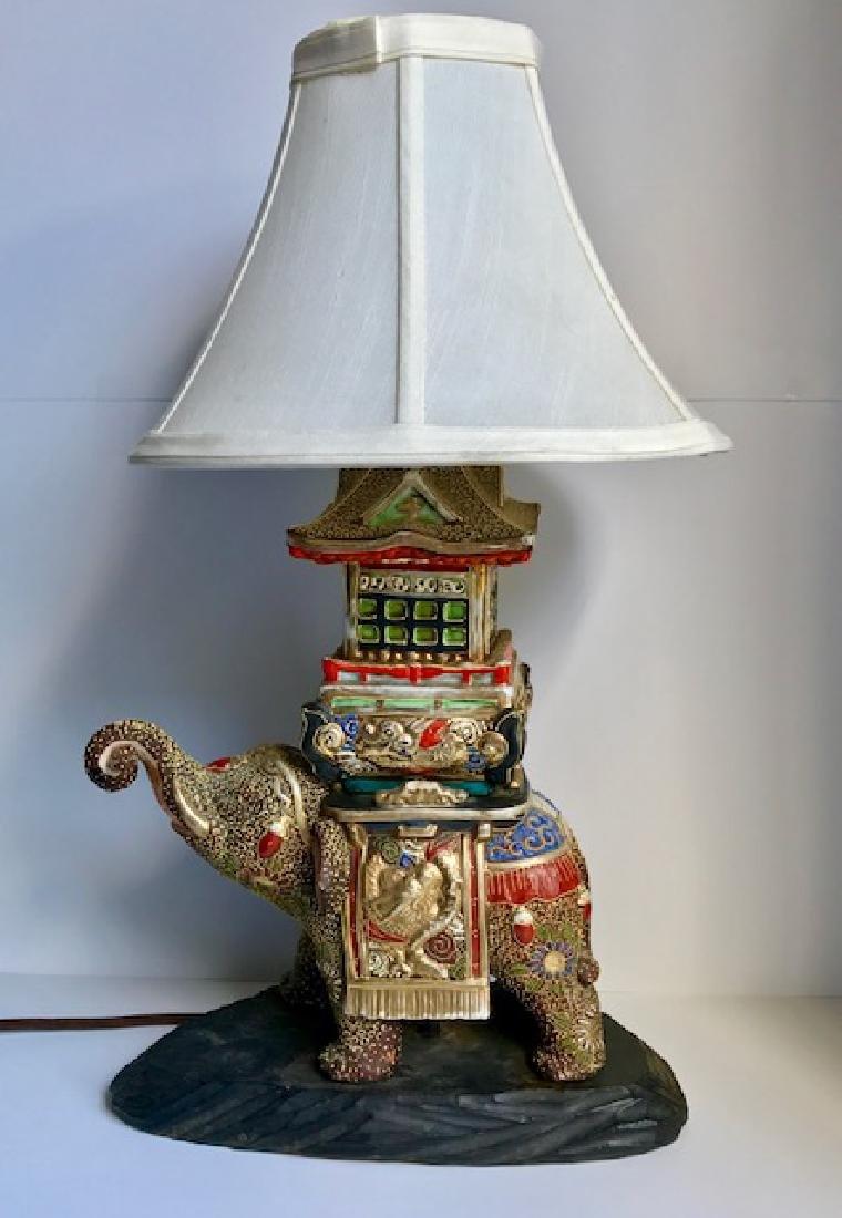 Rare Japanese Satsuma Porcelain Elephant Lamp