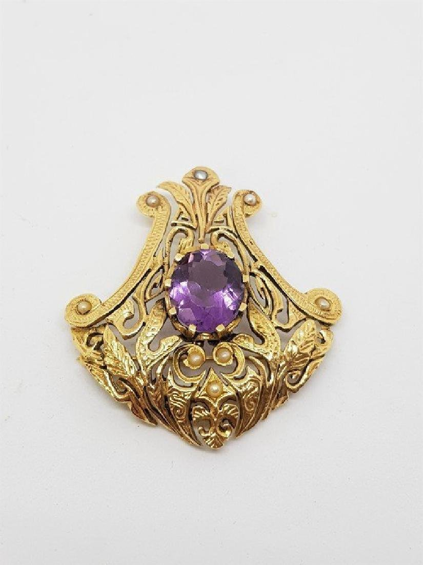 14k Gold AMETHYST AND PEARL GOLD BROOCH