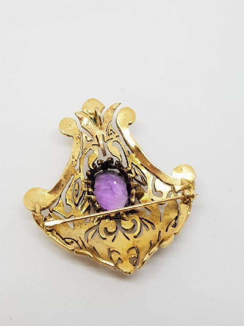 14k Gold AMETHYST AND PEARL GOLD BROOCH - 2