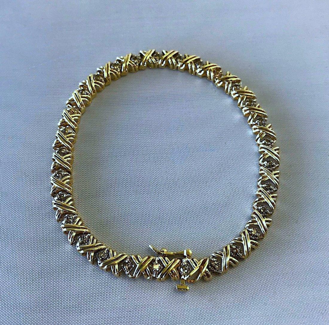 10K YELLOW GOLD BRACELET WITH 1.55CT DIAMOND 9.2G