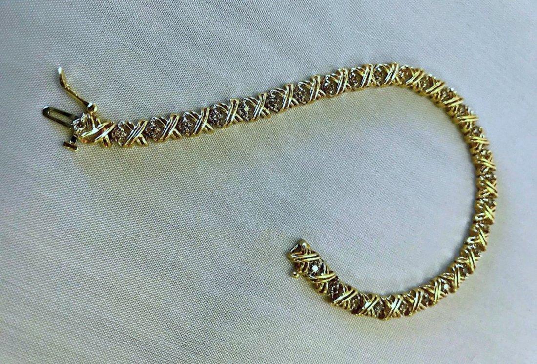10K YELLOW GOLD BRACELET WITH 1.55CT DIAMOND 9.2G - 4