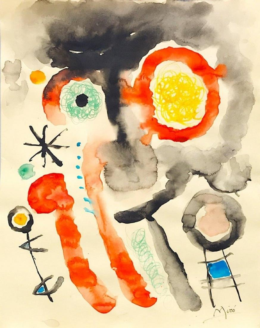 JOAN MIRÓ, Mixed media on paper