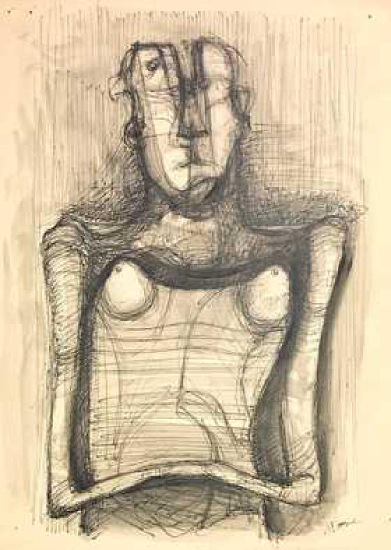 HENRY MOORE, Mixed media on paper