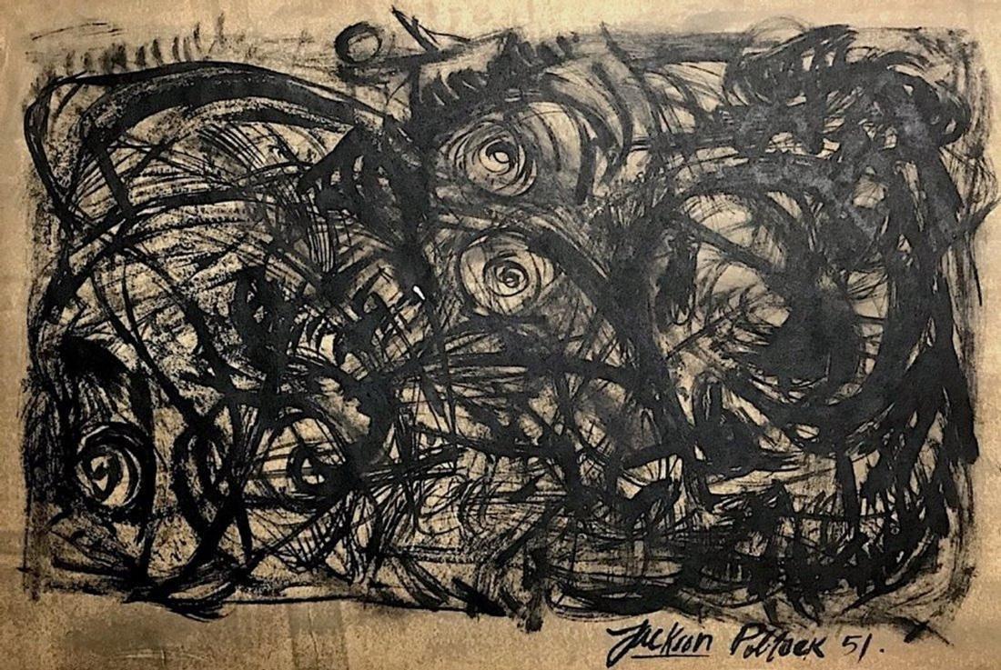 JACKSON POLLOCK, Oil on paper