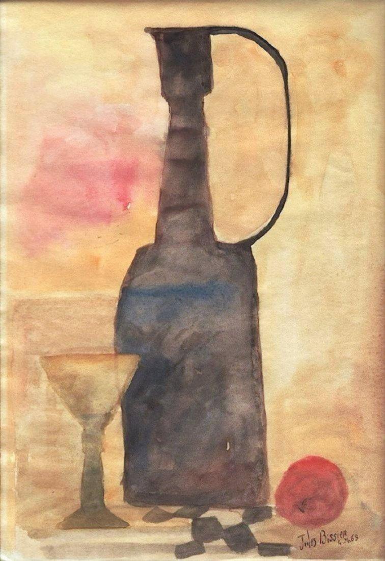JULIUS BISSIER , Watercolor on paper