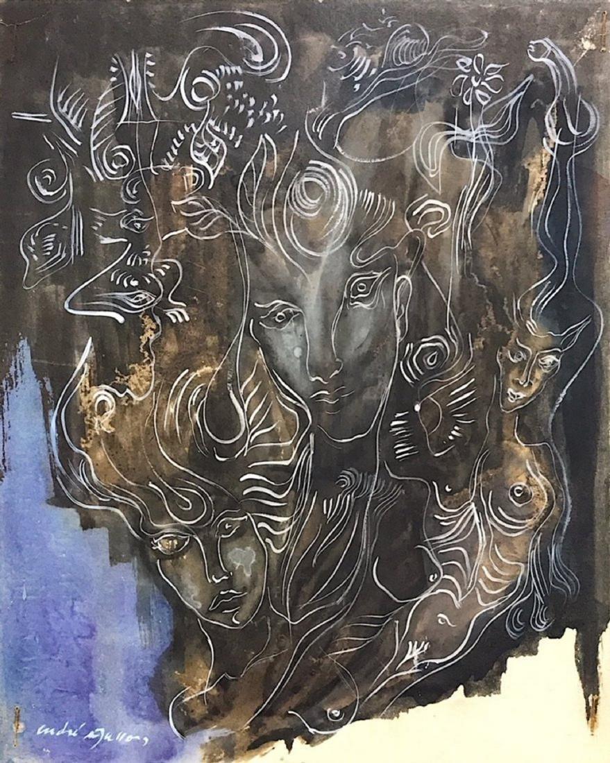 ANDRE MASSON, Watercolor on board