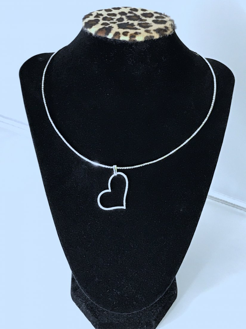 14k White Gold Chain and Heart Pendant with Diamonds